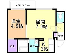 札幌市営南北線 真駒内駅 徒歩14分の賃貸マンション 3階1LDKの間取り