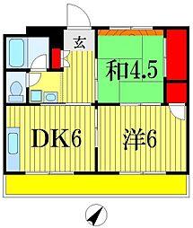 千葉県船橋市宮本2丁目の賃貸マンションの間取り