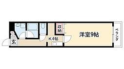 愛知県名古屋市昭和区福江町1丁目の賃貸アパートの間取り