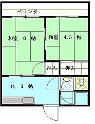 山清荘[103号室]の間取り