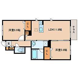 近鉄橿原線 平端駅 徒歩6分の賃貸アパート 1階2LDKの間取り