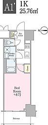 JR総武線 飯田橋駅 徒歩5分の賃貸マンション 7階1Kの間取り