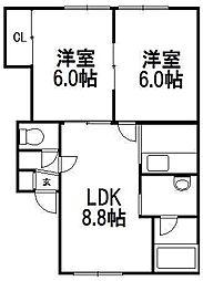 北海道札幌市西区八軒四条東2の賃貸アパートの間取り