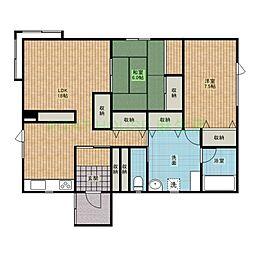 JR学園都市線 石狩当別駅 6.2kmの賃貸アパート 1階2LDKの間取り