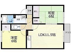 大阪モノレール本線 少路駅 徒歩15分の賃貸アパート 1階2LDKの間取り