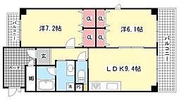 兵庫県神戸市東灘区住吉宮町3丁目の賃貸マンションの間取り