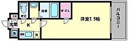 エスリード大阪城PREMIER 3階1Kの間取り