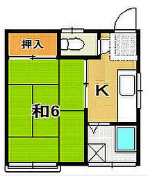 メゾンオモカワA[203号室]の間取り