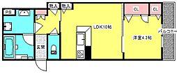 シャーメゾン西郷通 3階1LDKの間取り