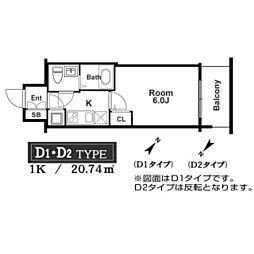アドバンス西梅田ラシュレ 2階1Kの間取り