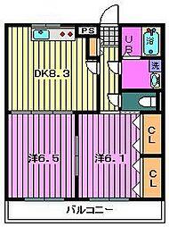 プリムローズ 2階2DKの間取り