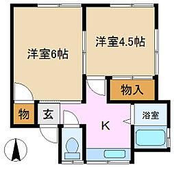 羽富アパート[2階]の間取り