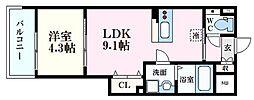 Felice Nishikawa 5階1LDKの間取り