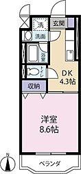 静岡県袋井市愛野の賃貸マンションの間取り