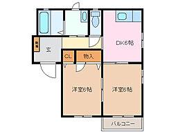 三重県四日市市伊倉3丁目の賃貸アパートの間取り