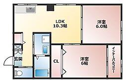 オーナーズマンション南巽[2階]の間取り