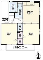 サンハイム一色 D棟[2階]の間取り