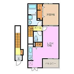 近鉄大阪線 桔梗が丘駅 徒歩18分の賃貸アパート 2階1LDKの間取り