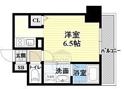 ララプレイス ザ・京橋ステラ 6階ワンルームの間取り