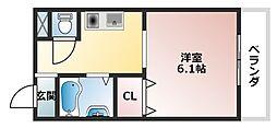 大阪府大阪市東住吉区北田辺4丁目の賃貸マンションの間取り