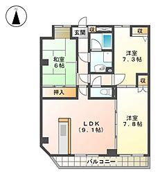 ブルーウェーブマンション[8階]の間取り