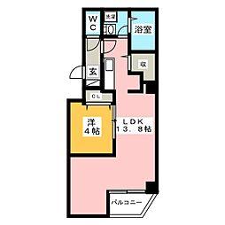 金太郎ヒルズ243松が谷 6階1LDKの間取り