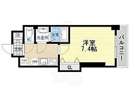 南海高野線 萩ノ茶屋駅 徒歩3分の賃貸マンション 9階1Kの間取り