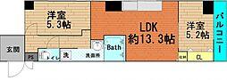 大阪府大阪市西区西本町3丁目の賃貸マンションの間取り