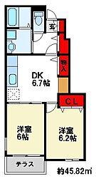 [タウンハウス] 福岡県朝倉郡筑前町上高場 の賃貸【/】の間取り