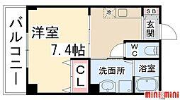 ボヌール伊丹 4階1Kの間取り