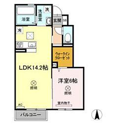 JR山陽本線 北長瀬駅 徒歩21分の賃貸アパート 1階1LDKの間取り