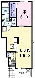 阪急千里線 南千里駅 バス9分 五月が丘下車 徒歩4分の賃貸アパート 1階1LDKの間取り