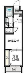 ドゥエリング千林商店街 4階1DKの間取り