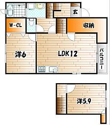 エスポワール高野 A[2階]の間取り
