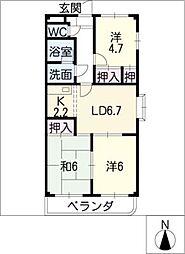 アムールノース[3階]の間取り