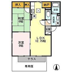 和歌山県海南市阪井の賃貸アパートの間取り