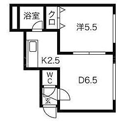 北海道札幌市豊平区水車町1の賃貸マンションの間取り