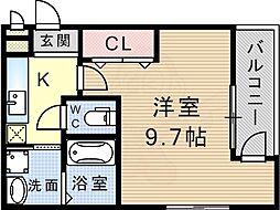 フジパレス武庫之荘2番館 1階1Kの間取り