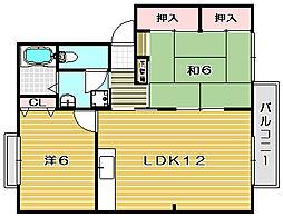 大阪府茨木市玉瀬町の賃貸アパートの間取り