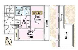ビーナスコート3[2階]の間取り