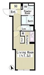 JR山手線 恵比寿駅 徒歩13分の賃貸マンション 3階1Kの間取り