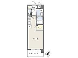 ロザリアンアベニュー南熊本 8階ワンルームの間取り