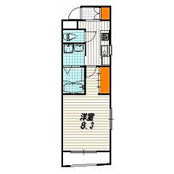ベラジオ京都東山 3階1Kの間取り