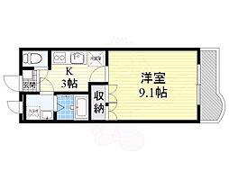 大阪モノレール彩都線 彩都西駅 徒歩15分の賃貸マンション 4階1Kの間取り