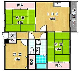 旭ヶ丘コーポ[1階]の間取り