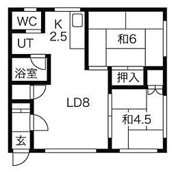 北海道札幌市清田区真栄一条1丁目の賃貸アパートの間取り
