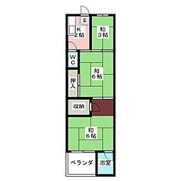 ビレッジハウス大輪1号棟[4階]の間取り