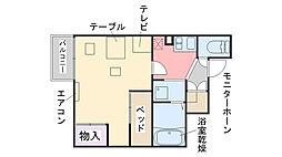 福岡県糸島市神在の賃貸アパートの間取り
