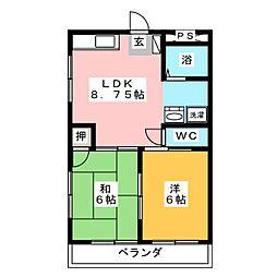 第五サンライフ大嶋[2階]の間取り
