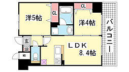 エステムプラザ神戸大開通ルミナス[201号室]の間取り